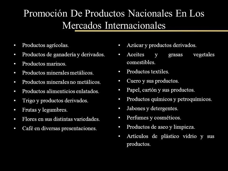 Promoción De Productos Nacionales En Los Mercados Internacionales Productos agrícolas. Productos de ganadería y derivados. Productos marinos. Producto