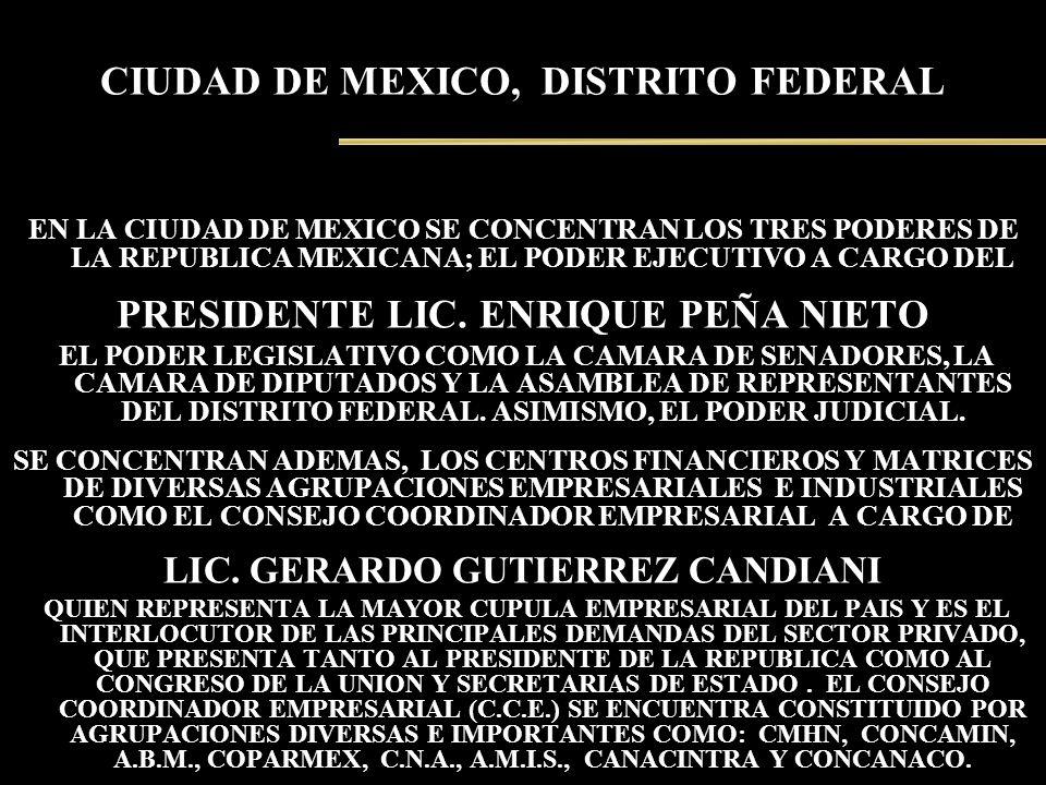 CIUDAD DE MEXICO, DISTRITO FEDERAL EN LA CIUDAD DE MEXICO SE CONCENTRAN LOS TRES PODERES DE LA REPUBLICA MEXICANA; EL PODER EJECUTIVO A CARGO DEL PRES