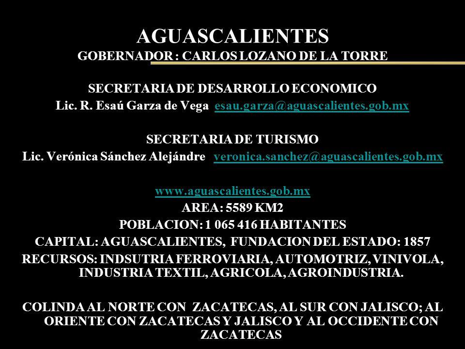 AGUASCALIENTES GOBERNADOR : CARLOS LOZANO DE LA TORRE SECRETARIA DE DESARROLLO ECONOMICO Lic. R. Esaú Garza de Vega esau.garza@aguascalientes.gob.mxes