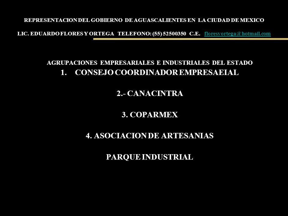 REPRESENTACION DEL GOBIERNO DE AGUASCALIENTES EN LA CIUDAD DE MEXICO LIC. EDUARDO FLORES Y ORTEGA TELEFONO: (55) 52500350 C.E. floresyortega@hotmail.c