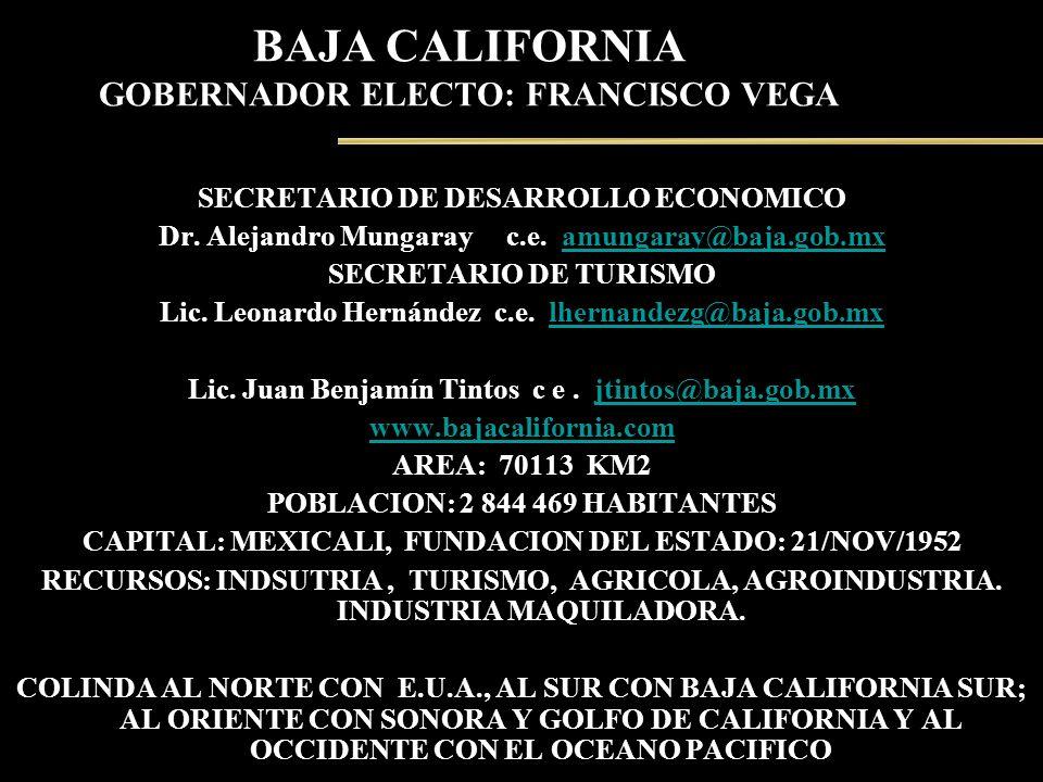 BAJA CALIFORNIA GOBERNADOR ELECTO: FRANCISCO VEGA SECRETARIO DE DESARROLLO ECONOMICO Dr. Alejandro Mungaray c.e. amungaray@baja.gob.mxamungaray@baja.g