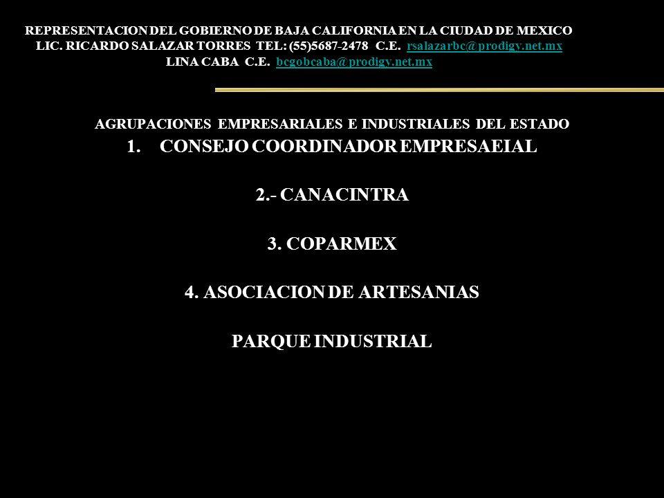 REPRESENTACION DEL GOBIERNO DE BAJA CALIFORNIA EN LA CIUDAD DE MEXICO LIC. RICARDO SALAZAR TORRES TEL: (55)5687-2478 C.E. rsalazarbc@prodigy.net.mx LI