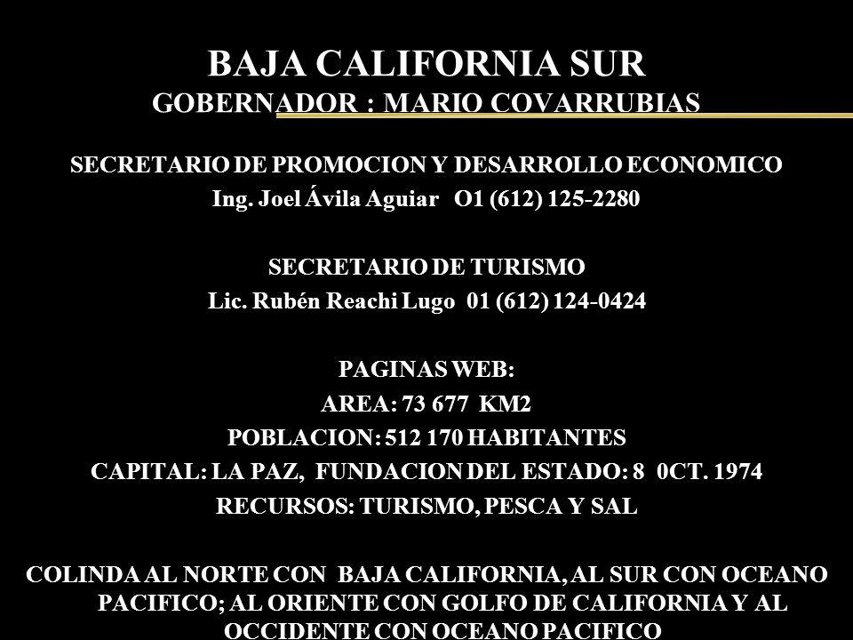 BAJA CALIFORNIA SUR GOBERNADOR : MARIO COVARRUBIAS SECRETARIO DE PROMOCION Y DESARROLLO ECONOMICO Ing. Joel Ávila Aguiar O1 (612) 125-2280 SECRETARIO