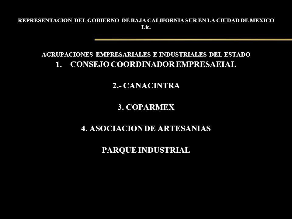 REPRESENTACION DEL GOBIERNO DE BAJA CALIFORNIA SUR EN LA CIUDAD DE MEXICO Lic. AGRUPACIONES EMPRESARIALES E INDUSTRIALES DEL ESTADO 1.CONSEJO COORDINA
