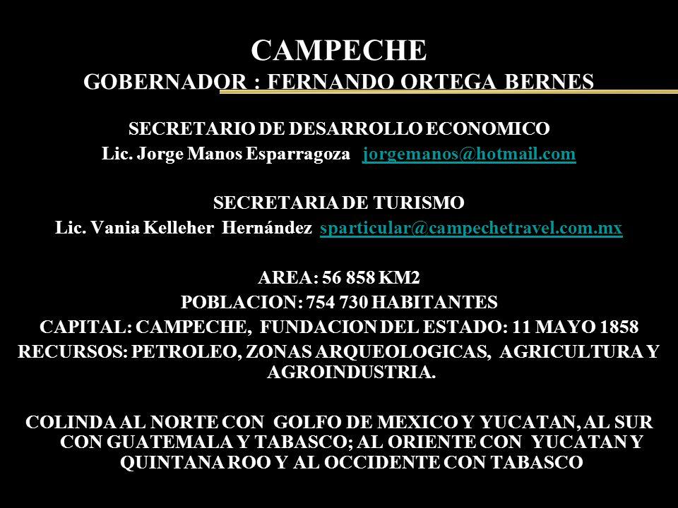 CAMPECHE GOBERNADOR : FERNANDO ORTEGA BERNES SECRETARIO DE DESARROLLO ECONOMICO Lic. Jorge Manos Esparragoza jorgemanos@hotmail.comjorgemanos@hotmail.