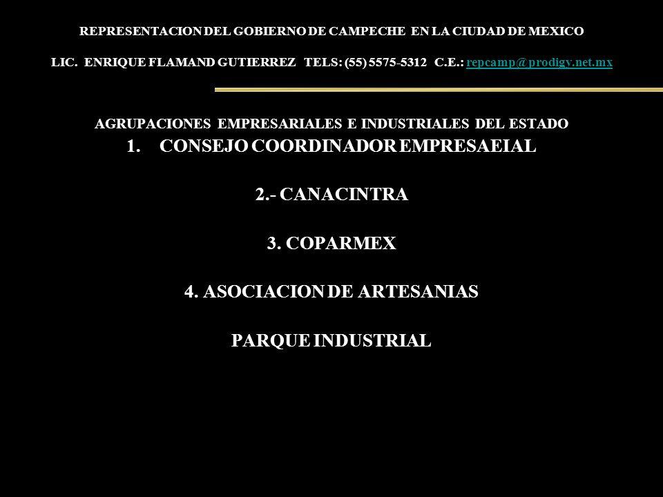REPRESENTACION DEL GOBIERNO DE CAMPECHE EN LA CIUDAD DE MEXICO LIC. ENRIQUE FLAMAND GUTIERREZ TELS: (55) 5575-5312 C.E.: repcamp@prodigy.net.mxrepcamp