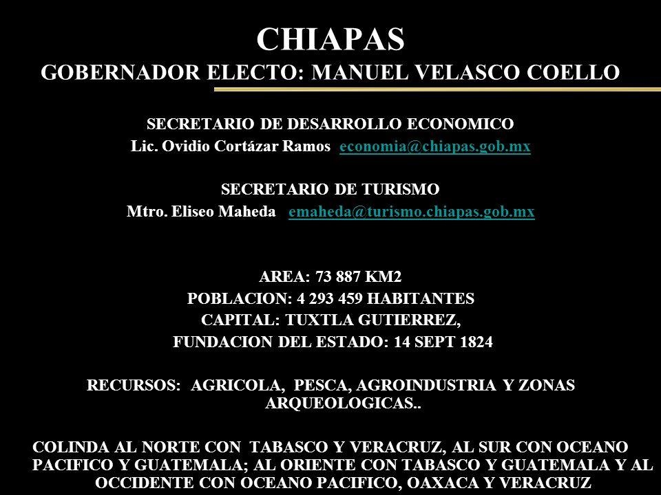 CHIAPAS GOBERNADOR ELECTO: MANUEL VELASCO COELLO SECRETARIO DE DESARROLLO ECONOMICO Lic. Ovidio Cortázar Ramos economia@chiapas.gob.mxeconomia@chiapas