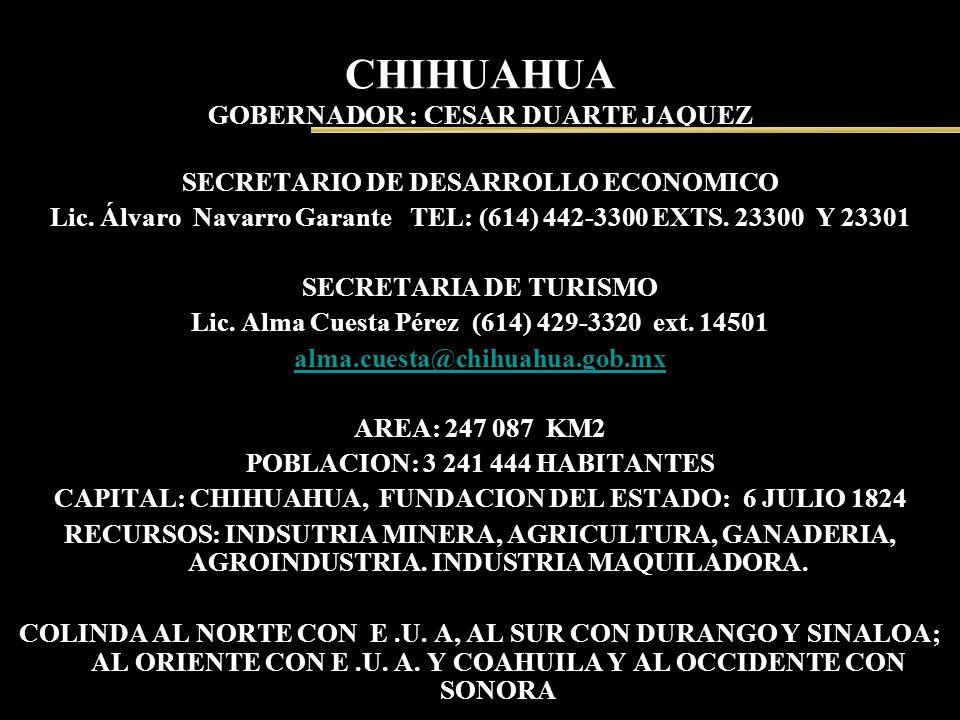 CHIHUAHUA GOBERNADOR : CESAR DUARTE JAQUEZ SECRETARIO DE DESARROLLO ECONOMICO Lic. Álvaro Navarro Garante TEL: (614) 442-3300 EXTS. 23300 Y 23301 SECR