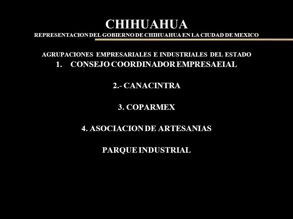 CHIHUAHUA REPRESENTACION DEL GOBIERNO DE CHIHUAHUA EN LA CIUDAD DE MEXICO AGRUPACIONES EMPRESARIALES E INDUSTRIALES DEL ESTADO 1.CONSEJO COORDINADOR E