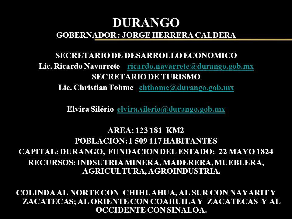 DURANGO GOBERNADOR : JORGE HERRERA CALDERA SECRETARIO DE DESARROLLO ECONOMICO Lic. Ricardo Navarrete ricardo.navarrete@durango.gob.mxricardo.navarrete