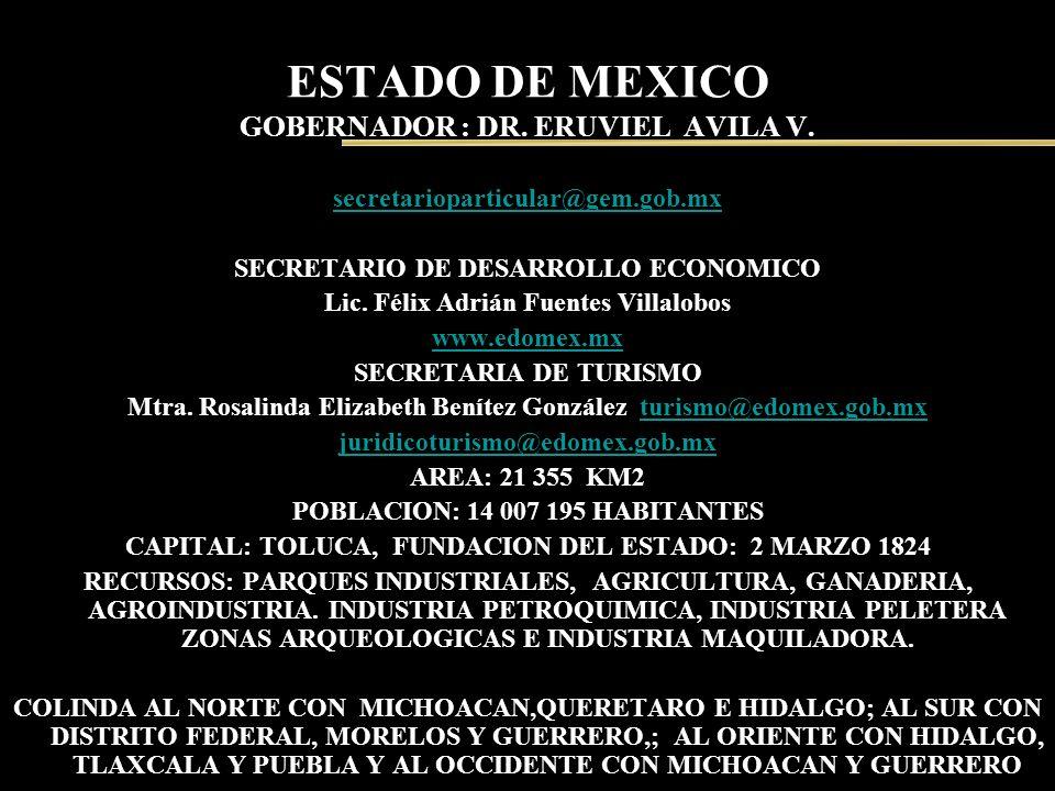 ESTADO DE MEXICO GOBERNADOR : DR. ERUVIEL AVILA V. secretarioparticular@gem.gob.mx SECRETARIO DE DESARROLLO ECONOMICO Lic. Félix Adrián Fuentes Villal