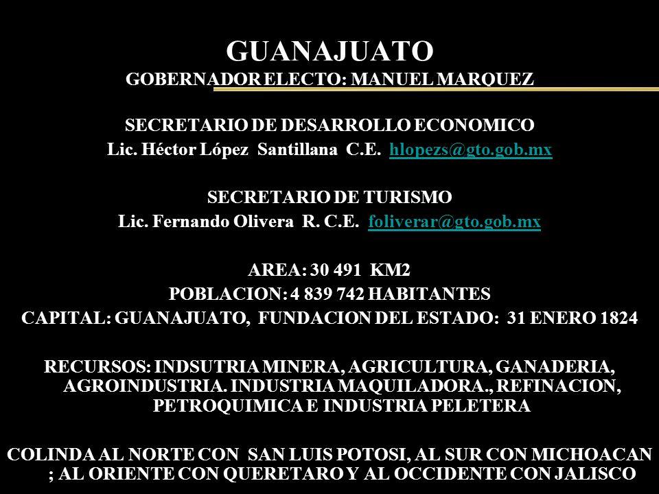 GUANAJUATO GOBERNADOR ELECTO: MANUEL MARQUEZ SECRETARIO DE DESARROLLO ECONOMICO Lic. Héctor López Santillana C.E. hlopezs@gto.gob.mxhlopezs@gto.gob.mx