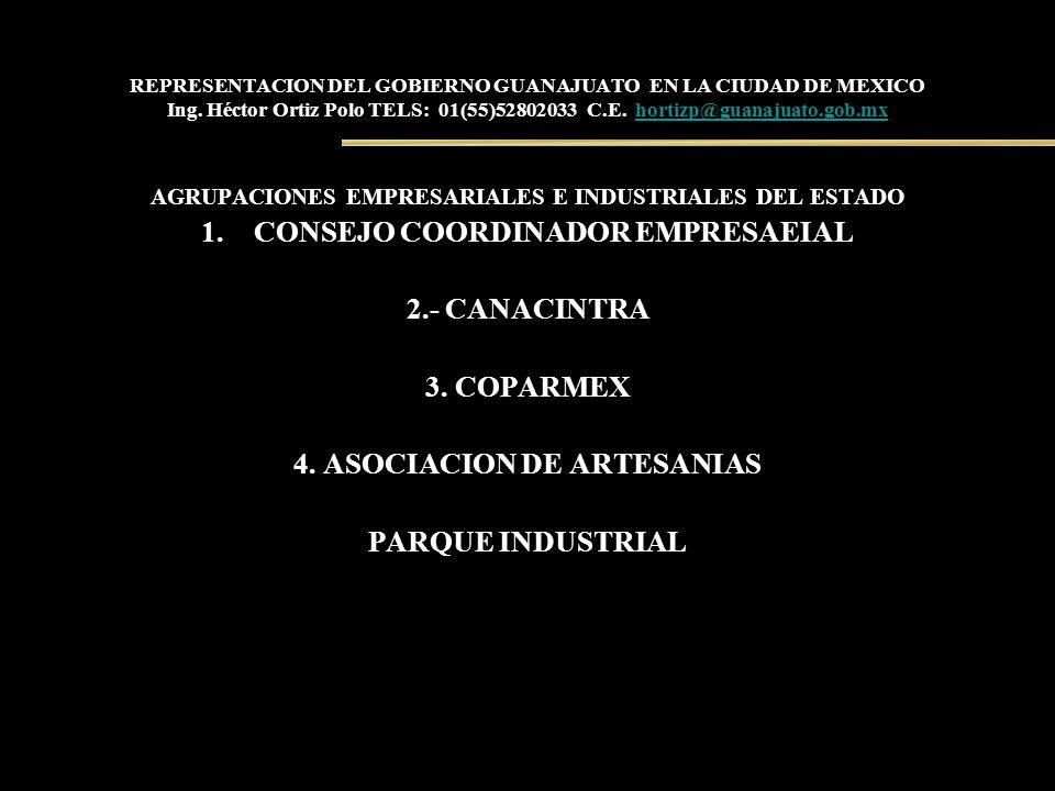 REPRESENTACION DEL GOBIERNO GUANAJUATO EN LA CIUDAD DE MEXICO Ing. Héctor Ortiz Polo TELS: 01(55)52802033 C.E. hortizp@guanajuato.gob.mxhortizp@guanaj