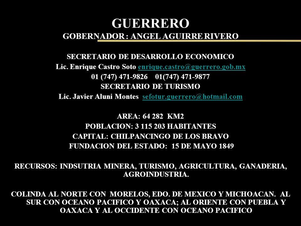 GUERRERO GOBERNADOR : ANGEL AGUIRRE RIVERO SECRETARIO DE DESARROLLO ECONOMICO Lic. Enrique Castro Soto enrique.castro@guerrero.gob.mxenrique.castro@gu