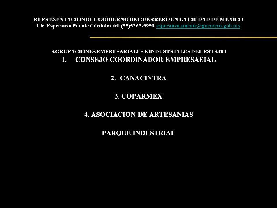 REPRESENTACION DEL GOBIERNO DE GUERRERO EN LA CIUDAD DE MEXICO Lic. Esperanza Puente Córdoba tel. (55)5263-9950 esperanza.puente@guerrero.gob.mxespera