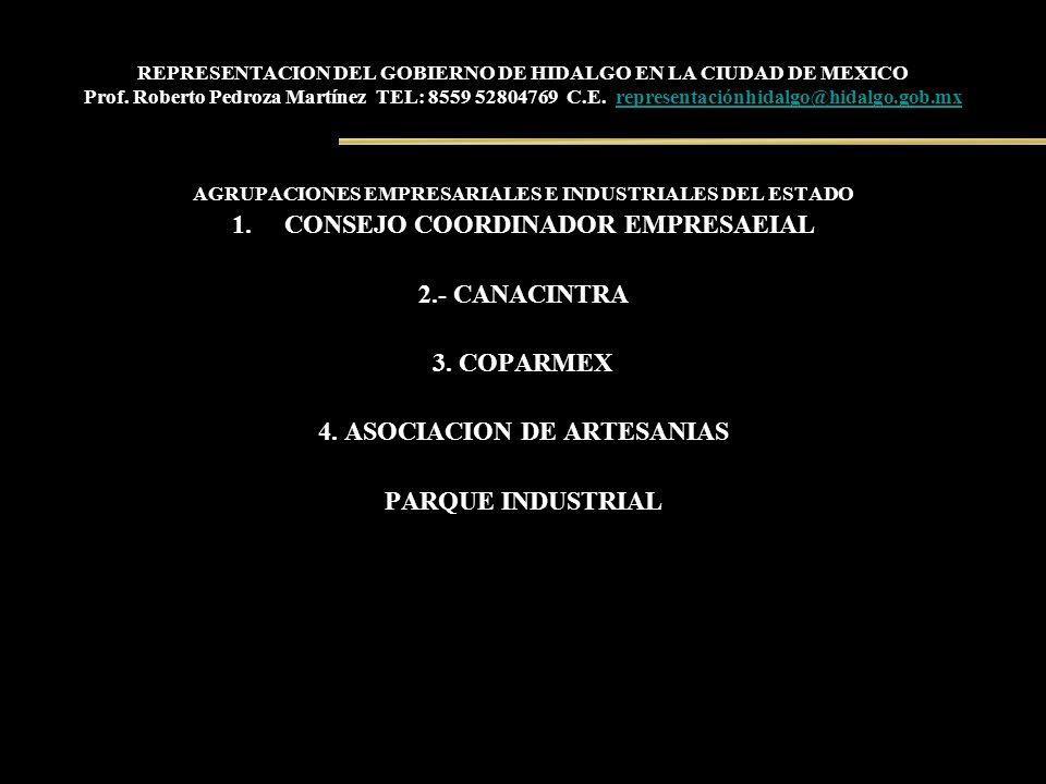 REPRESENTACION DEL GOBIERNO DE HIDALGO EN LA CIUDAD DE MEXICO Prof. Roberto Pedroza Martínez TEL: 8559 52804769 C.E. representaciónhidalgo@hidalgo.gob