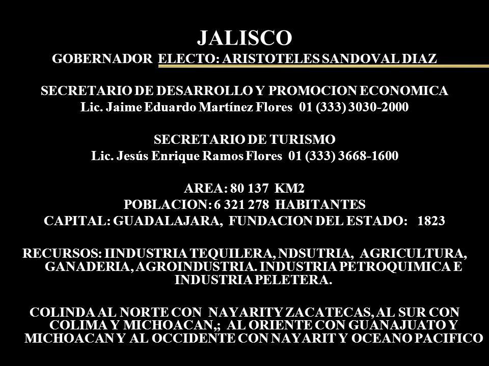JALISCO GOBERNADOR ELECTO: ARISTOTELES SANDOVAL DIAZ SECRETARIO DE DESARROLLO Y PROMOCION ECONOMICA Lic. Jaime Eduardo Martínez Flores 01 (333) 3030-2