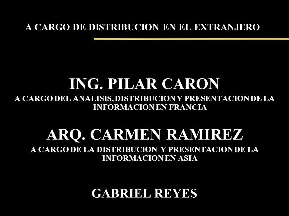A CARGO DE DISTRIBUCION EN EL EXTRANJERO ING. PILAR CARON A CARGO DEL ANALISIS, DISTRIBUCION Y PRESENTACION DE LA INFORMACION EN FRANCIA ARQ. CARMEN R