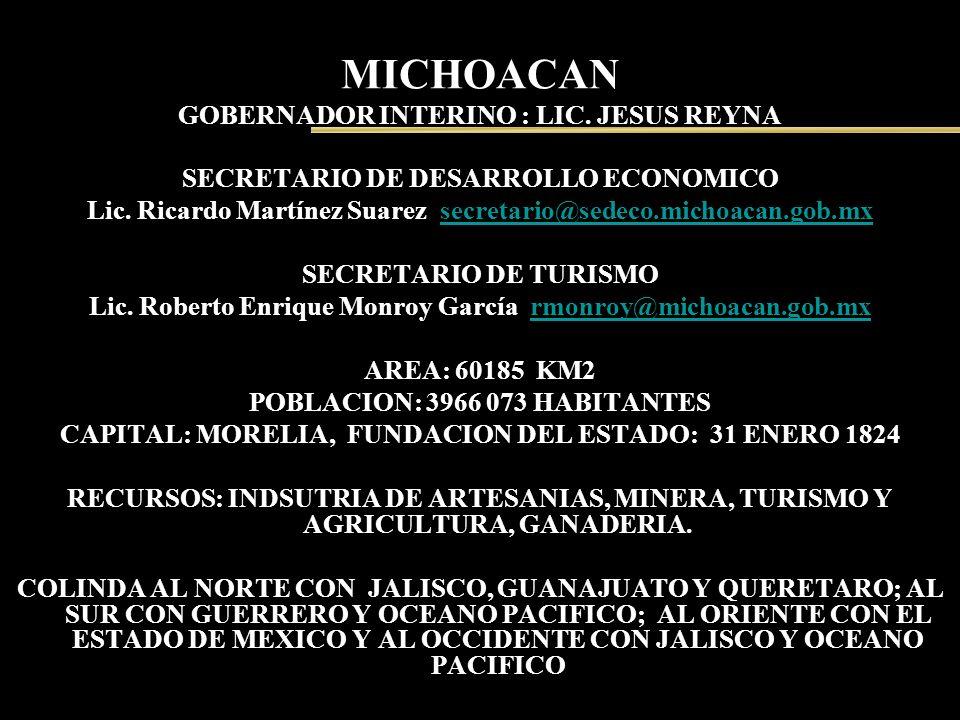 MICHOACAN GOBERNADOR INTERINO : LIC. JESUS REYNA SECRETARIO DE DESARROLLO ECONOMICO Lic. Ricardo Martínez Suarez secretario@sedeco.michoacan.gob.mxsec