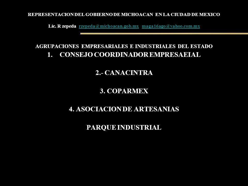 REPRESENTACION DEL GOBIERNO DE MICHOACAN EN LA CIUDAD DE MEXICO Lic. R zepeda rzepeda@michoacan.gob.mx maga16ago@yahoo.com.mxrzepeda@michoacan.gob.mxm