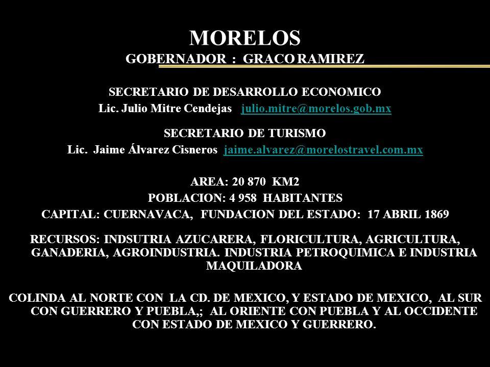 MORELOS GOBERNADOR : GRACO RAMIREZ SECRETARIO DE DESARROLLO ECONOMICO Lic. Julio Mitre Cendejas julio.mitre@morelos.gob.mxjulio.mitre@morelos.gob.mx S