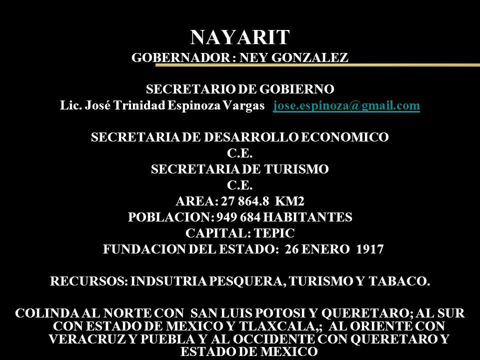 NAYARIT GOBERNADOR : NEY GONZALEZ SECRETARIO DE GOBIERNO Lic. José Trinidad Espinoza Vargas jose.espinoza@gmail.comjose.espinoza@gmail.com SECRETARIA