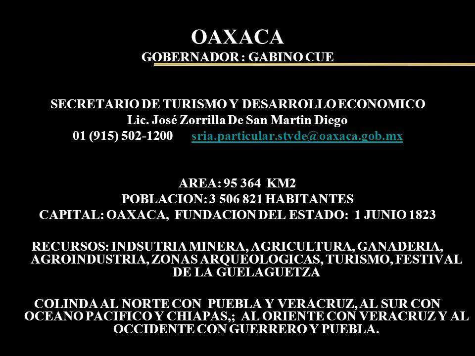 OAXACA GOBERNADOR : GABINO CUE SECRETARIO DE TURISMO Y DESARROLLO ECONOMICO Lic. José Zorrilla De San Martin Diego 01 (915) 502-1200 sria.particular.s