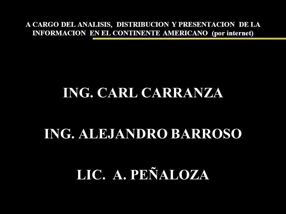 A CARGO DEL ANALISIS, DISTRIBUCION Y PRESENTACION DE LA INFORMACION EN EL CONTINENTE AMERICANO (por internet) ING. CARL CARRANZA ING. ALEJANDRO BARROS