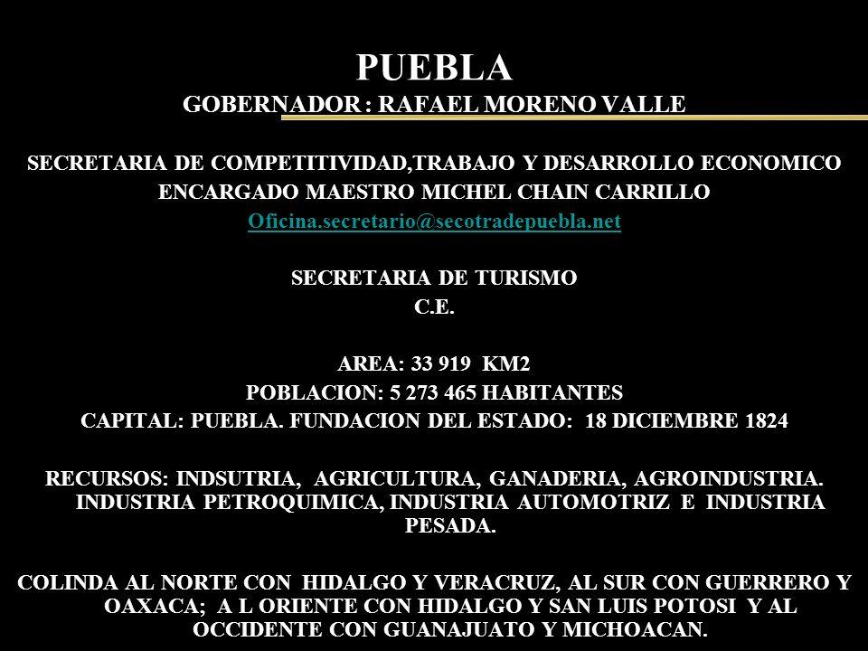 PUEBLA GOBERNADOR : RAFAEL MORENO VALLE SECRETARIA DE COMPETITIVIDAD,TRABAJO Y DESARROLLO ECONOMICO ENCARGADO MAESTRO MICHEL CHAIN CARRILLO Oficina.se