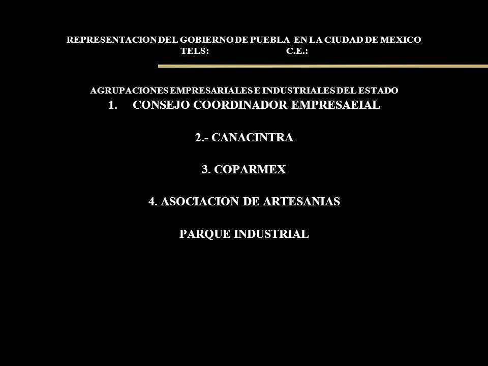 REPRESENTACION DEL GOBIERNO DE PUEBLA EN LA CIUDAD DE MEXICO TELS: C.E.: AGRUPACIONES EMPRESARIALES E INDUSTRIALES DEL ESTADO 1.CONSEJO COORDINADOR EM