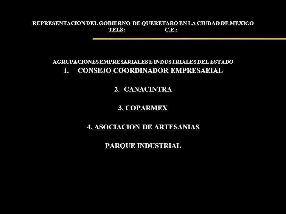 REPRESENTACION DEL GOBIERNO DE QUERETARO EN LA CIUDAD DE MEXICO TELS: C.E.: AGRUPACIONES EMPRESARIALES E INDUSTRIALES DEL ESTADO 1.CONSEJO COORDINADOR