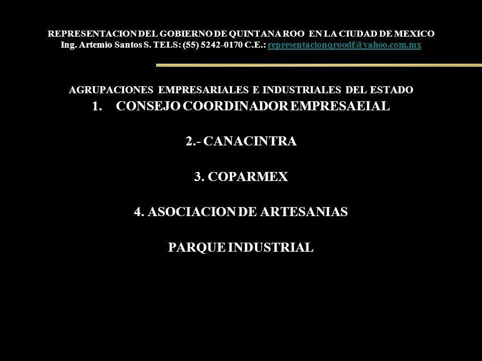 REPRESENTACION DEL GOBIERNO DE QUINTANA ROO EN LA CIUDAD DE MEXICO Ing. Artemio Santos S. TELS: (55) 5242-0170 C.E.: representacionqroodf@yahoo.com.mx