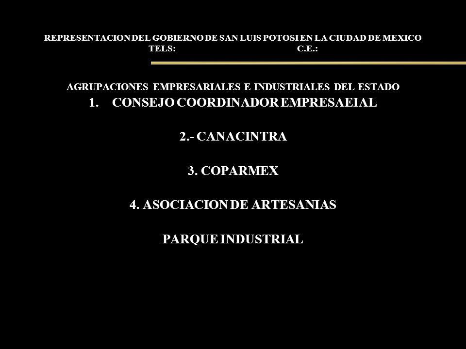 REPRESENTACION DEL GOBIERNO DE SAN LUIS POTOSI EN LA CIUDAD DE MEXICO TELS: C.E.: AGRUPACIONES EMPRESARIALES E INDUSTRIALES DEL ESTADO 1.CONSEJO COORD