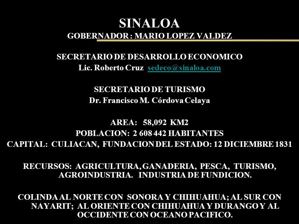 SINALOA GOBERNADOR : MARIO LOPEZ VALDEZ SECRETARIO DE DESARROLLO ECONOMICO Lic. Roberto Cruz sedeco@sinaloa.comsedeco@sinaloa.com SECRETARIO DE TURISM