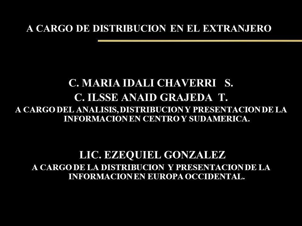 A CARGO DE DISTRIBUCION EN EL EXTRANJERO C. MARIA IDALI CHAVERRI S. C. ILSSE ANAID GRAJEDA T. A CARGO DEL ANALISIS, DISTRIBUCION Y PRESENTACION DE LA