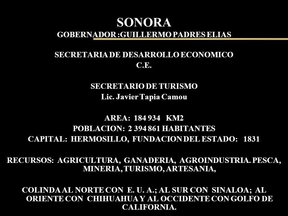 SONORA GOBERNADOR :GUILLERMO PADRES ELIAS SECRETARIA DE DESARROLLO ECONOMICO C.E. SECRETARIO DE TURISMO Lic. Javier Tapia Camou AREA: 184 934 KM2 POBL