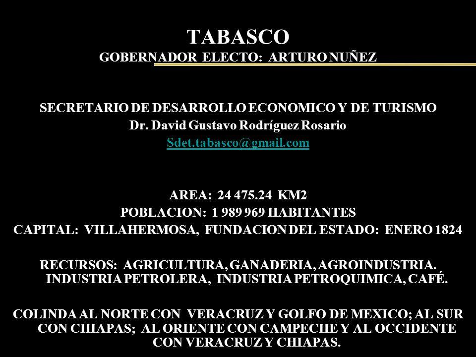 TABASCO GOBERNADOR ELECTO: ARTURO NUÑEZ SECRETARIO DE DESARROLLO ECONOMICO Y DE TURISMO Dr. David Gustavo Rodríguez Rosario Sdet.tabasco@gmail.com ARE