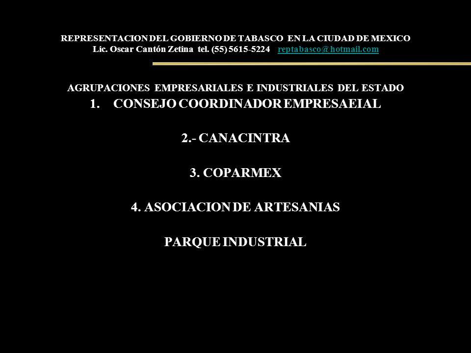 REPRESENTACION DEL GOBIERNO DE TABASCO EN LA CIUDAD DE MEXICO Lic. Oscar Cantón Zetina tel. (55) 5615-5224 reptabasco@hotmail.comreptabasco@hotmail.co