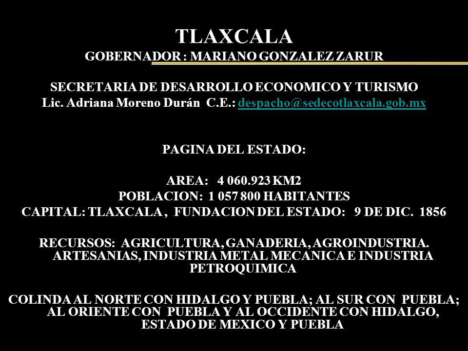 TLAXCALA GOBERNADOR : MARIANO GONZALEZ ZARUR SECRETARIA DE DESARROLLO ECONOMICO Y TURISMO Lic. Adriana Moreno Durán C.E.: despacho@sedecotlaxcala.gob.