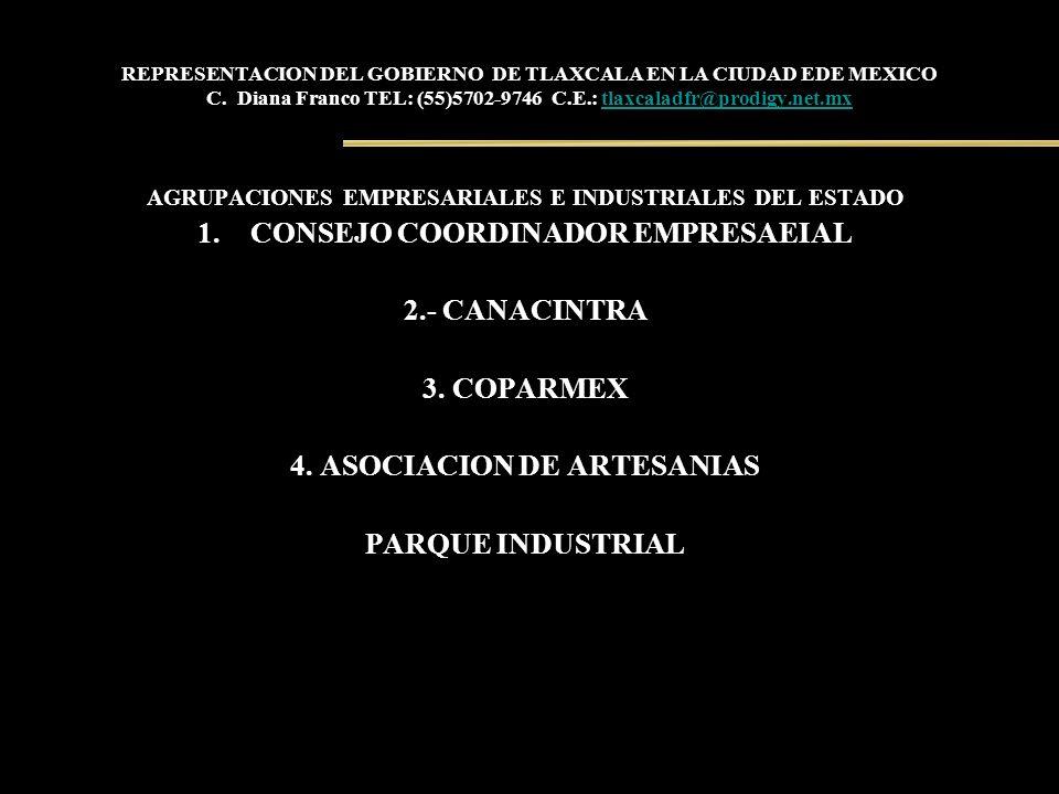 REPRESENTACION DEL GOBIERNO DE TLAXCALA EN LA CIUDAD EDE MEXICO C. Diana Franco TEL: (55)5702-9746 C.E.: tlaxcaladfr@prodigy.net.mxtlaxcaladfr@prodigy