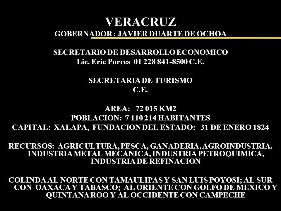 VERACRUZ GOBERNADOR : JAVIER DUARTE DE OCHOA SECRETARIO DE DESARROLLO ECONOMICO Lic. Eric Porres 01 228 841-8500 C.E. SECRETARIA DE TURISMO C.E. AREA: