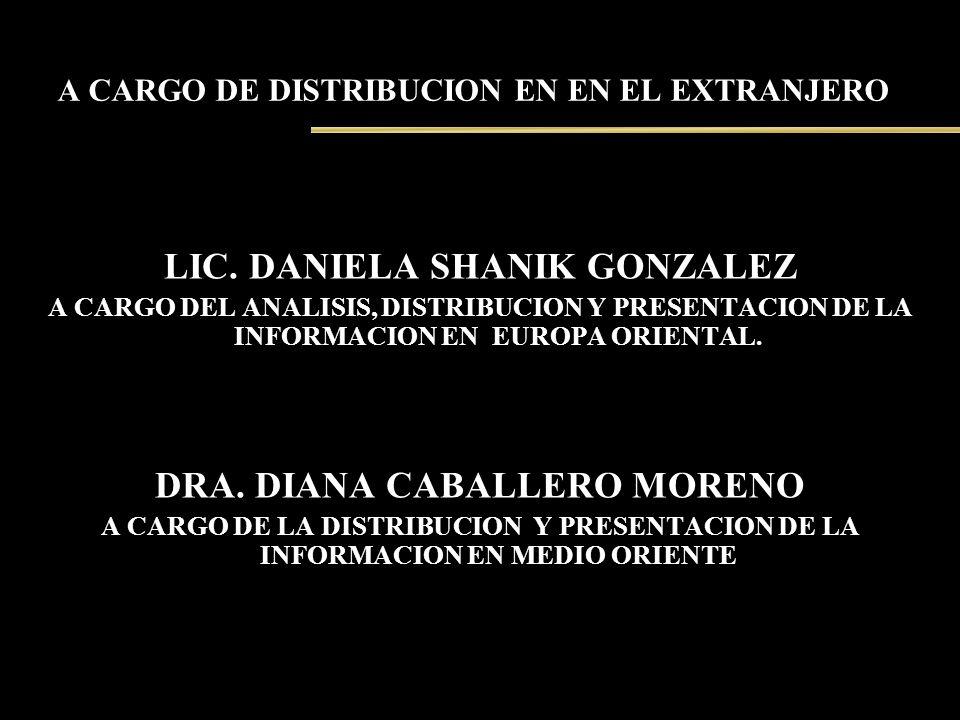 A CARGO DE DISTRIBUCION EN EN EL EXTRANJERO LIC. DANIELA SHANIK GONZALEZ A CARGO DEL ANALISIS, DISTRIBUCION Y PRESENTACION DE LA INFORMACION EN EUROPA