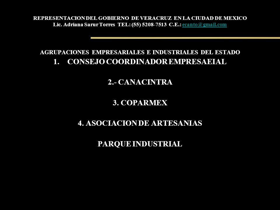 REPRESENTACION DEL GOBIERNO DE VERACRUZ EN LA CIUDAD DE MEXICO Lic. Adriana Sarur Torres TEL: (55) 5208-7513 C.E.: ecanto@gmail.comecanto@gmail.com AG