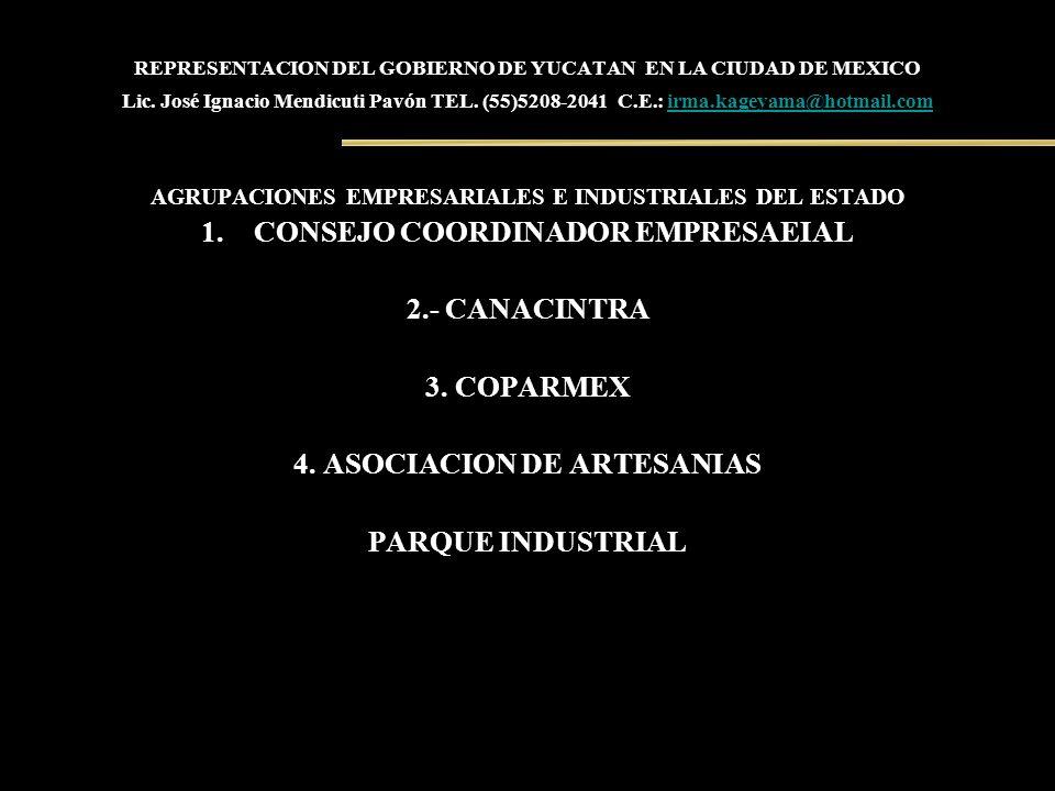 REPRESENTACION DEL GOBIERNO DE YUCATAN EN LA CIUDAD DE MEXICO Lic. José Ignacio Mendicuti Pavón TEL. (55)5208-2041 C.E.: irma.kageyama@hotmail.comirma