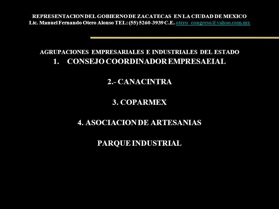 REPRESENTACION DEL GOBIERNO DE ZACATECAS EN LA CIUDAD DE MEXICO Lic. Manuel Fernando Otero Alonso TEL: (55) 5260-3939 C.E. otero_congreso@yahoo.com.mx