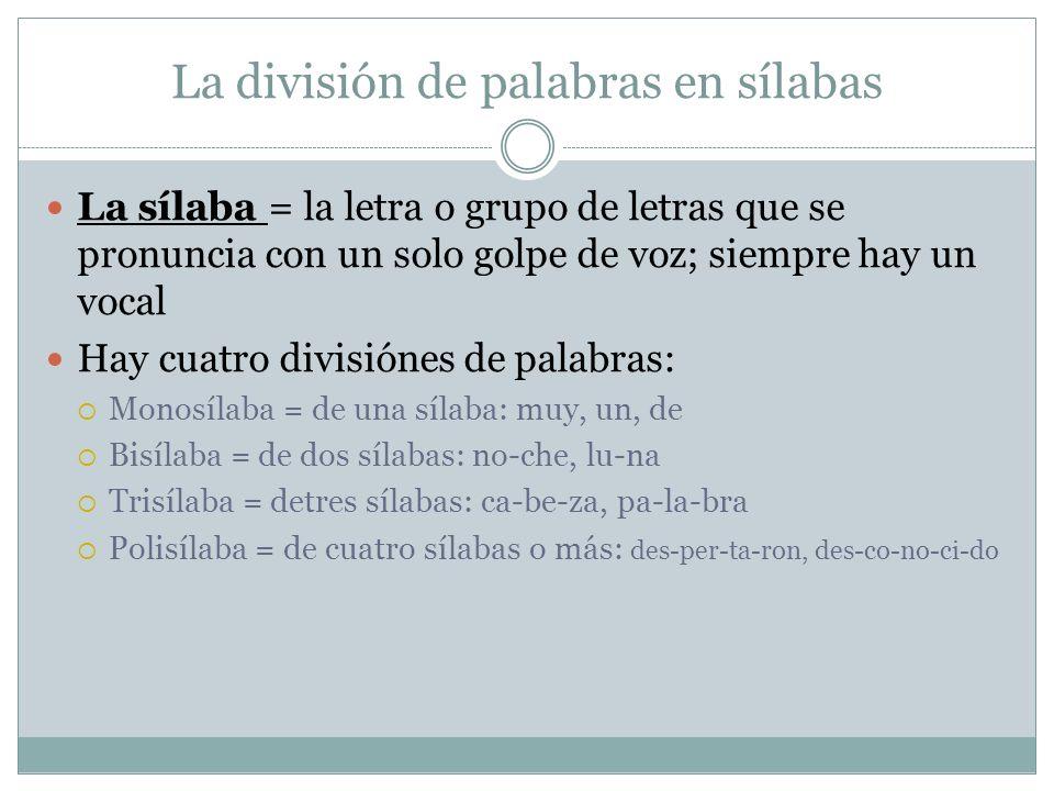 La división de palabras en sílabas La sílaba = la letra o grupo de letras que se pronuncia con un solo golpe de voz; siempre hay un vocal Hay cuatro d
