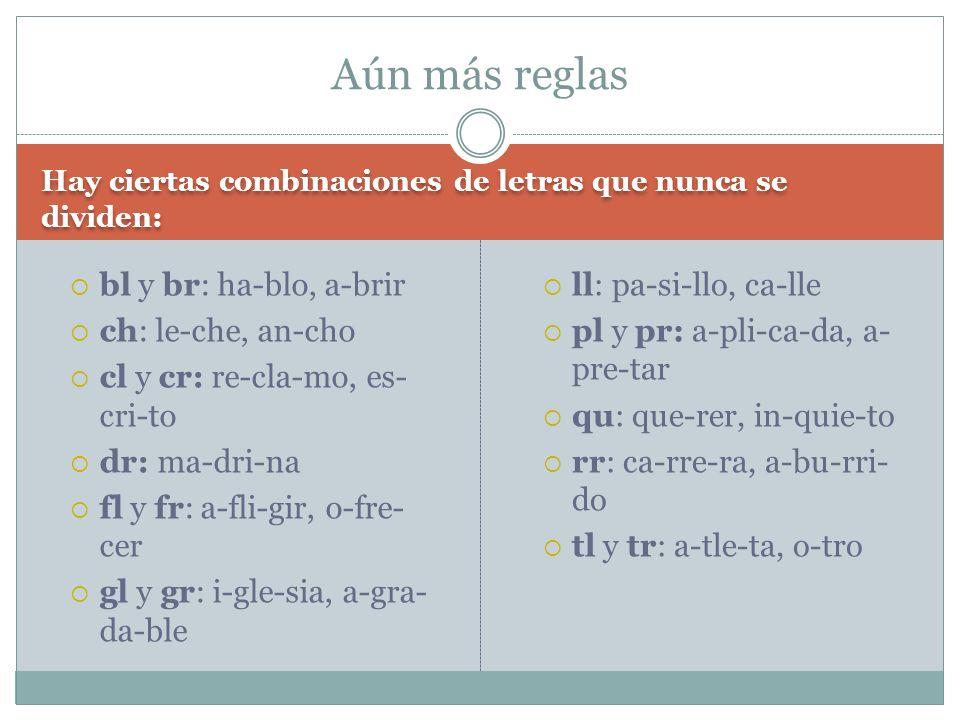 Hay ciertas combinaciones de letras que nunca se dividen: bl y br: ha-blo, a-brir ch: le-che, an-cho cl y cr: re-cla-mo, es- cri-to dr: ma-dri-na fl y