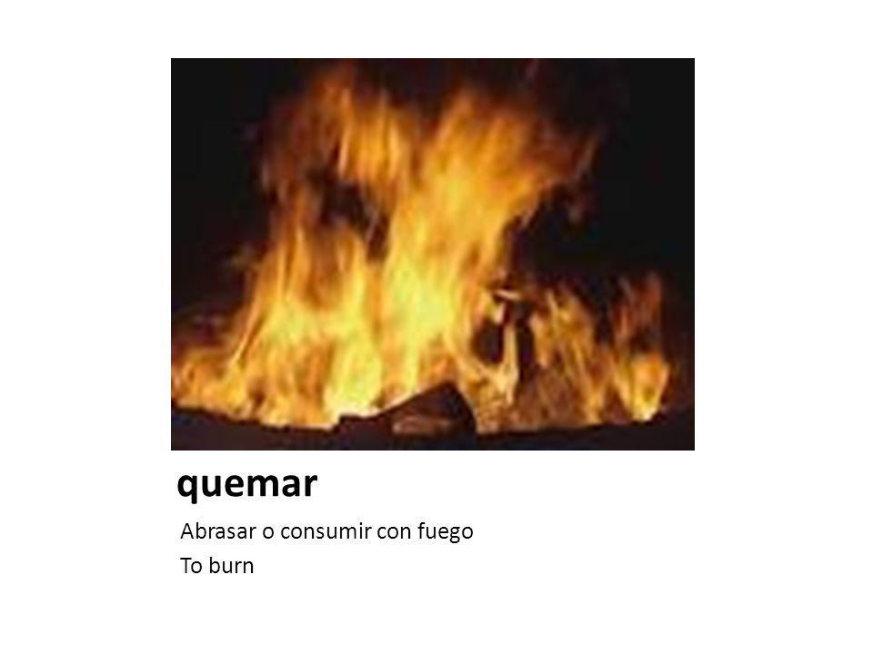 quemar Abrasar o consumir con fuego To burn