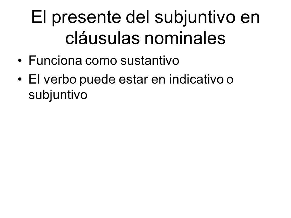 El presente del subjuntivo en cláusulas nominales Funciona como sustantivo El verbo puede estar en indicativo o subjuntivo