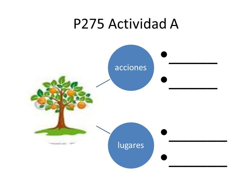 P275 Actividad A acciones _____ lugares ______